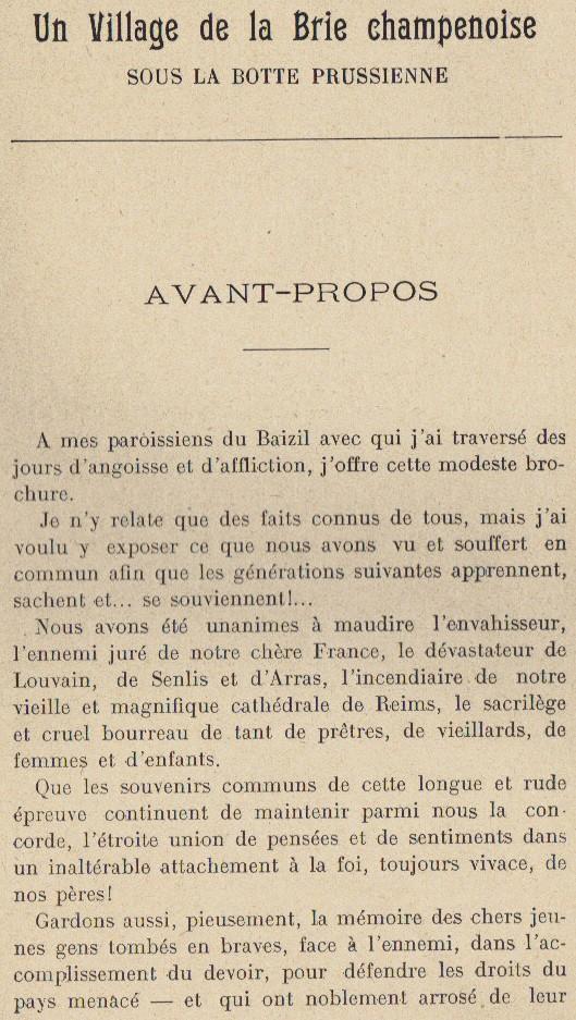 Abbé ROUTHIER - Les Prussiens au BAIZIL - Septembre 1914 05_ava10