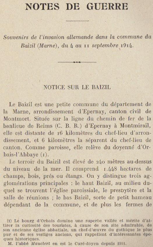 Abbé ROUTHIER - Les Prussiens au BAIZIL - Septembre 1914 07_not10