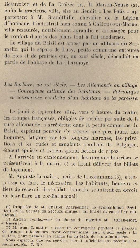 Abbé ROUTHIER - Les Prussiens au BAIZIL - Septembre 1914 08_not10
