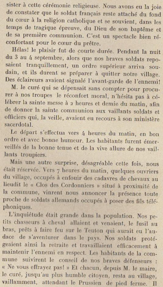Abbé ROUTHIER - Les Prussiens au BAIZIL - Septembre 1914 10_not10