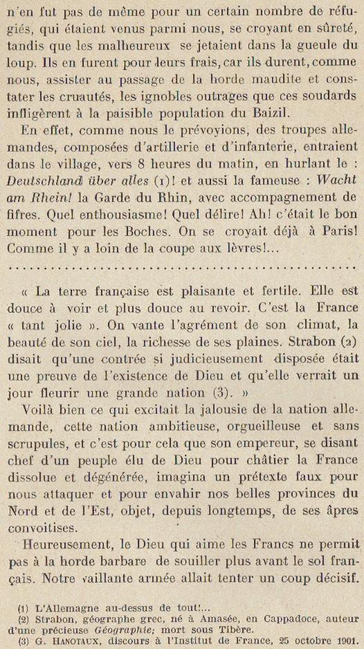 Abbé ROUTHIER - Les Prussiens au BAIZIL - Septembre 1914 11_not10