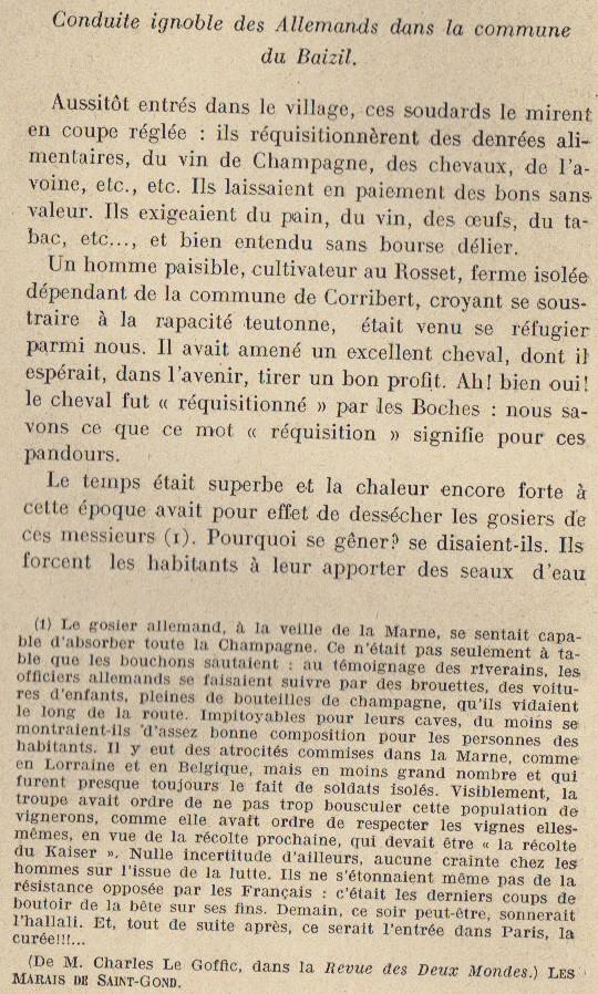 Abbé ROUTHIER - Les Prussiens au BAIZIL - Septembre 1914 12_not10