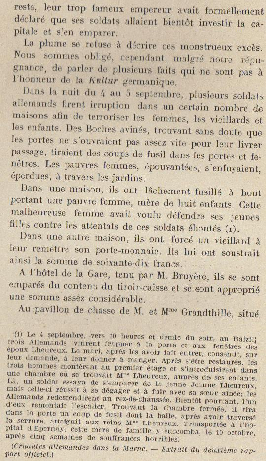 Abbé ROUTHIER - Les Prussiens au BAIZIL - Septembre 1914 14_not10