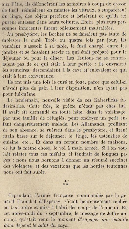 Abbé ROUTHIER - Les Prussiens au BAIZIL - Septembre 1914 15_not10