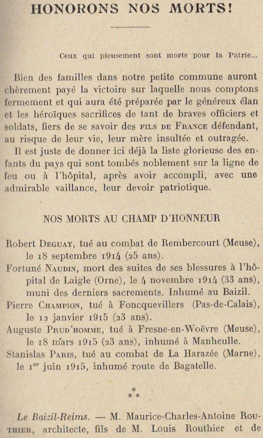 Abbé ROUTHIER - Les Prussiens au BAIZIL - Septembre 1914 19_mem10