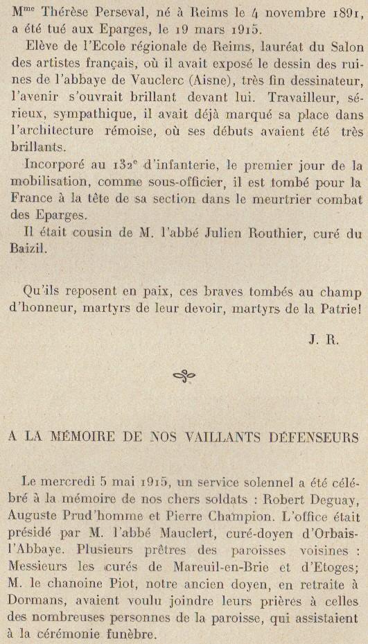 Abbé ROUTHIER - Les Prussiens au BAIZIL - Septembre 1914 20_mem10