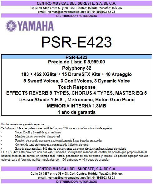 TECLADO YAMAHA PSR-E423, NUEVO MODELO!!! Psre4210