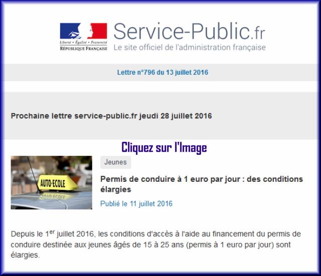 """La lettre N° 796 de """"Service Public"""" pour le 13 Juillet  2016 79610"""