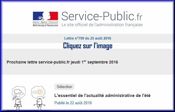 """La lettre N° 799 de """"Service Public"""" pour le 25 Août 2016 79910"""