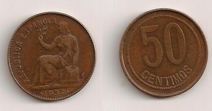 50 cents. en perfecto estado (República española) Moneda10