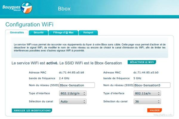 celeno - Configurer le WiFi Celeno (à 5 GHz) de la Bbox Sensation Lafibr10