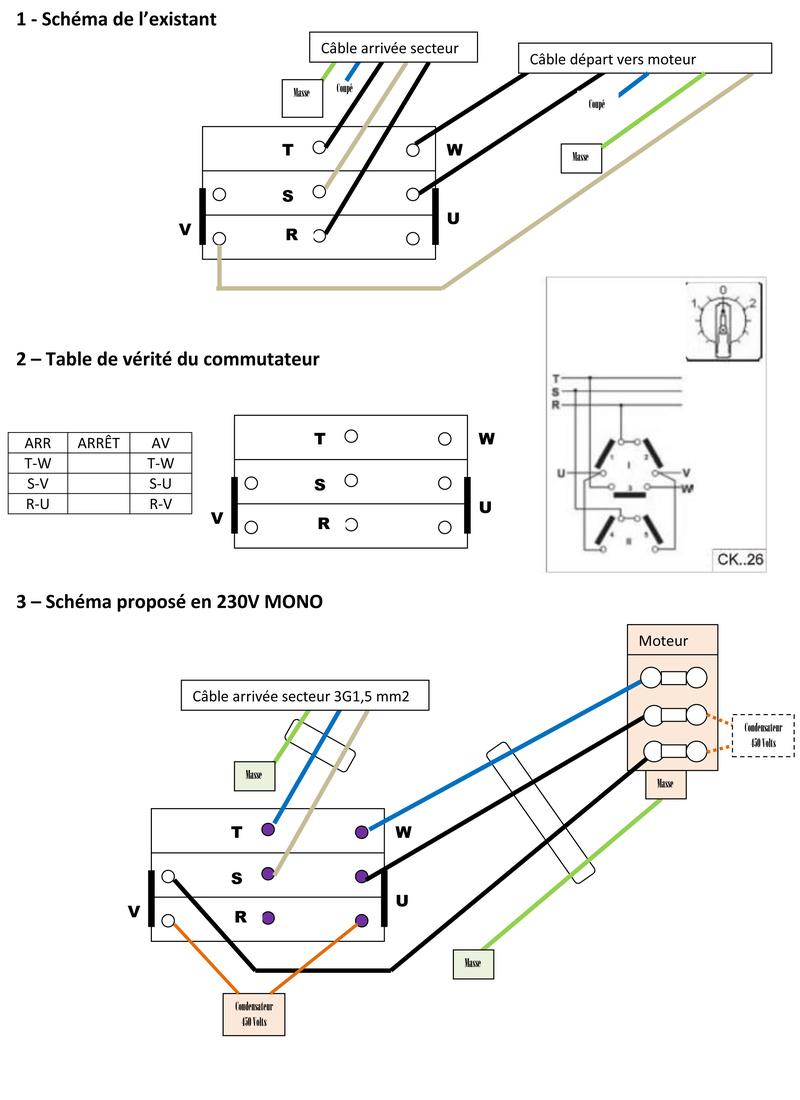 Inversion du sens de rotation d'un moteur 220V tri avec condensateur Exempl11