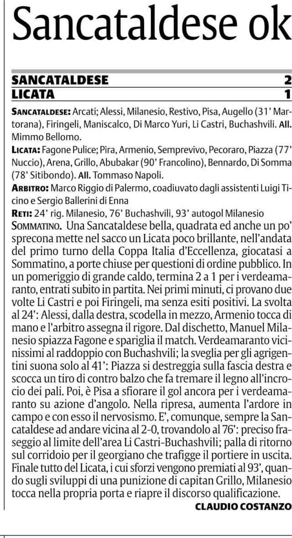 1° turno Coppa Italia andata: Sancataldese - Licata 2-1 Cn22sc14