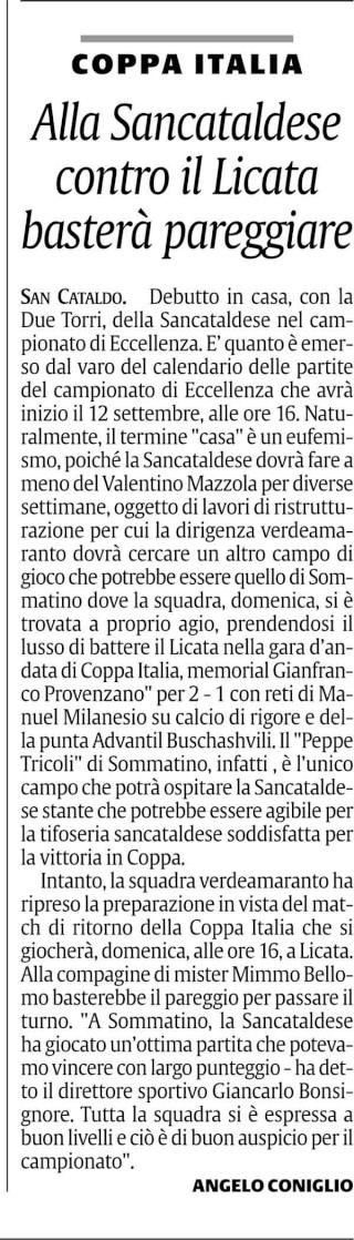 1° turno Coppa Italia ritorno: Licata - Sancataldese 1-0 Cnsc34