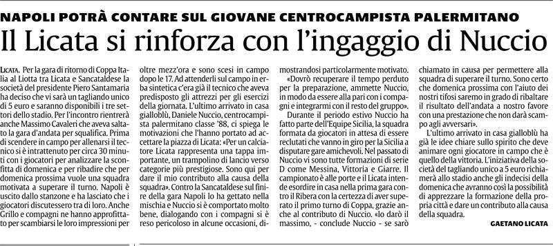 1° turno Coppa Italia ritorno: Licata - Sancataldese 1-0 Cnscag11