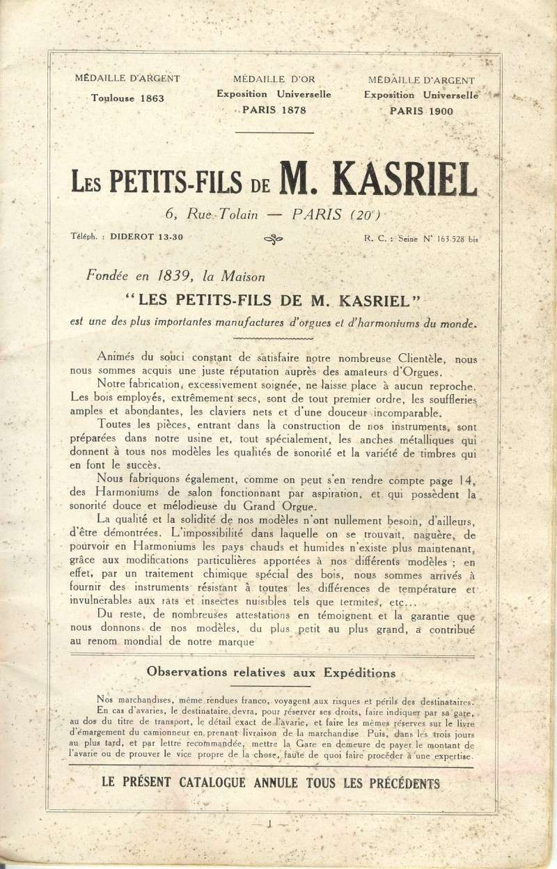 Catalogue Kasriel 1927 Numari31
