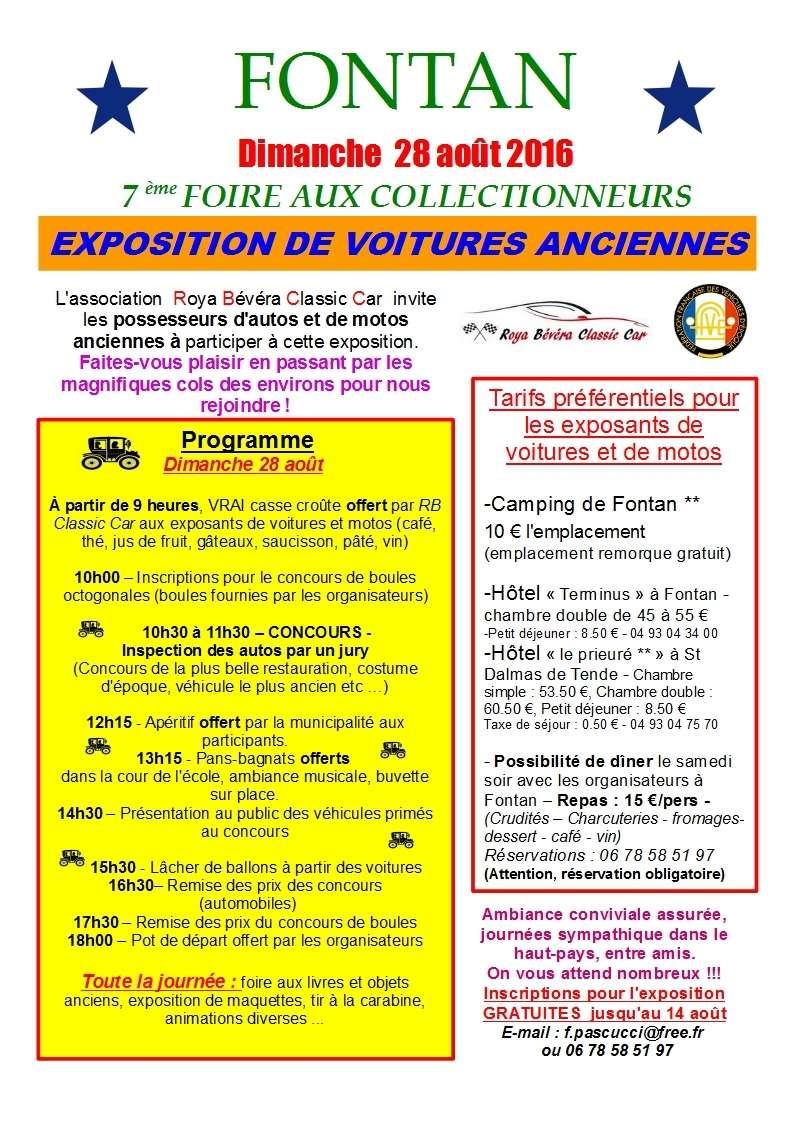 Expo autos anciennes ... C'est à Fontan le 28 août ! Progra10