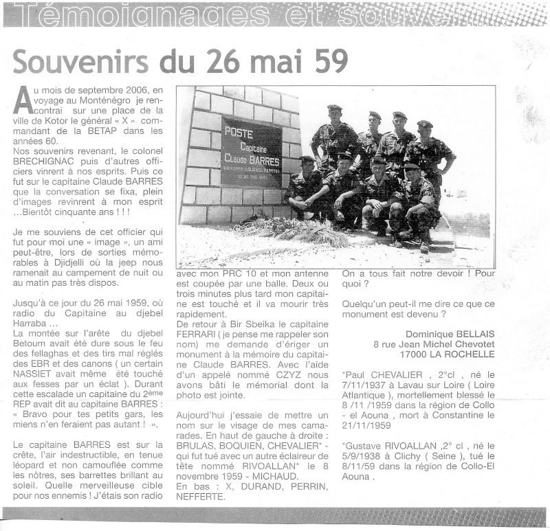 BARRES Claude capitaine 9e RCP Mort au Champ d'Honneur 26 mai 1959 Algérie  File0010