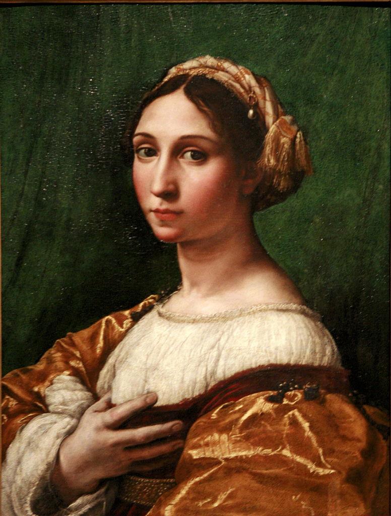Tentative de retrouver un tableau d'après un portrait de femme renaissance Raphae10