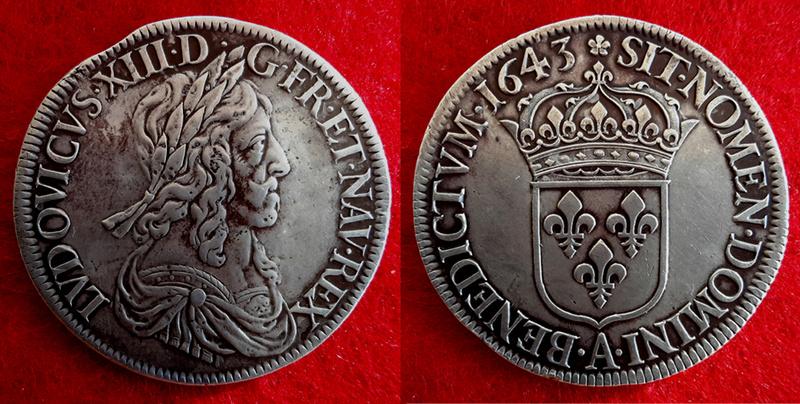 Demi-écu Louis XIII 1643 A 010510