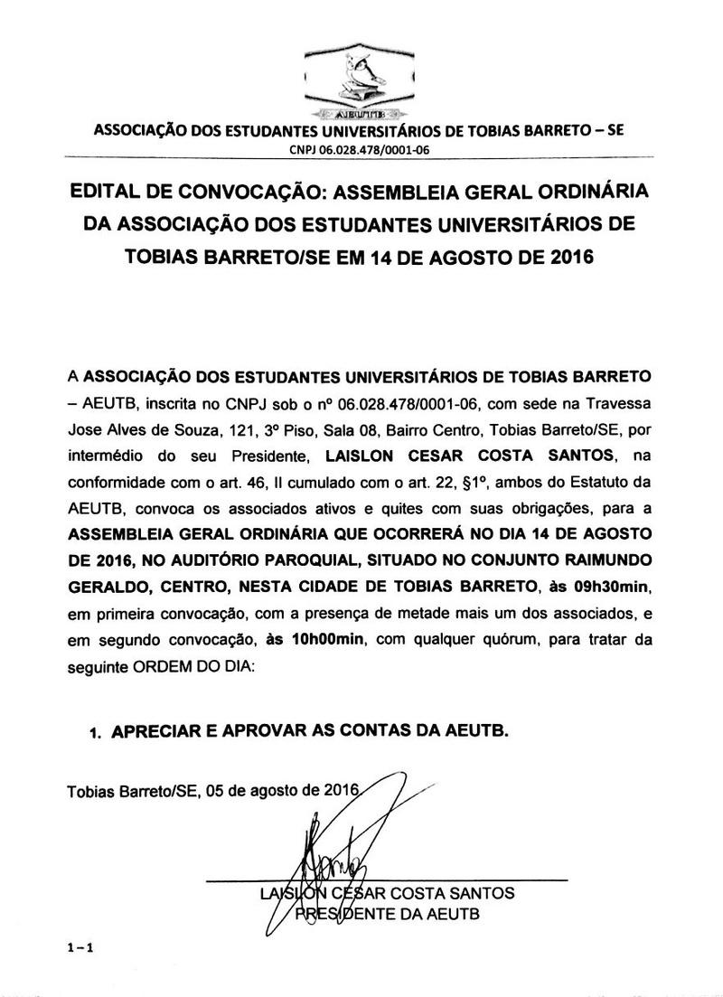 EDITAL DE CONVOCAÇÃO ASSEMBLEIA ORDINÁRIA Edital10