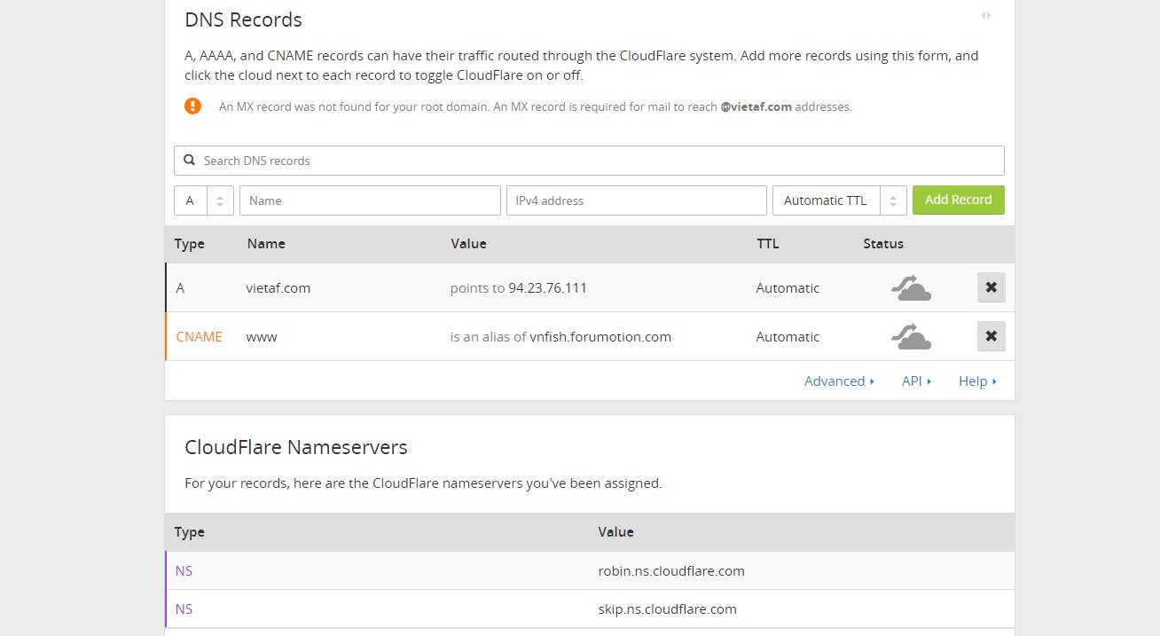 [Forumotion] Hướng dẫn trỏ tên miền cấp 1 về Forumotion từ CloudFlare Hynh211