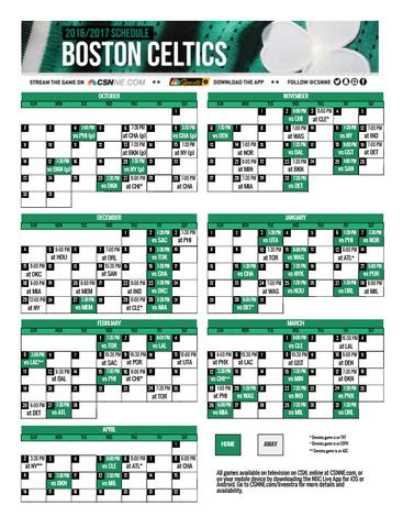 Celtics Schedule 2020.Regular Season Schedule