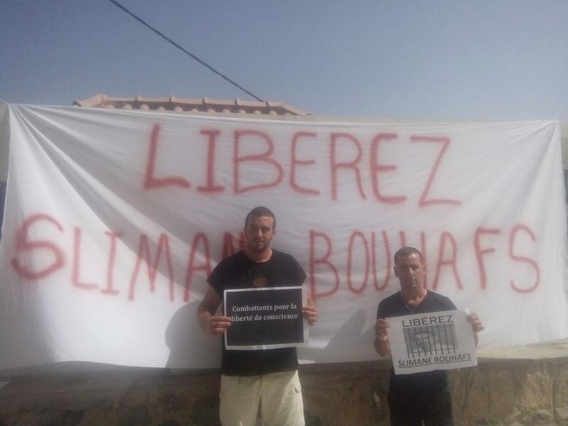 Rassemblement pour exiger la libération immédiate de Slimane Bouhafs à Aokas  184