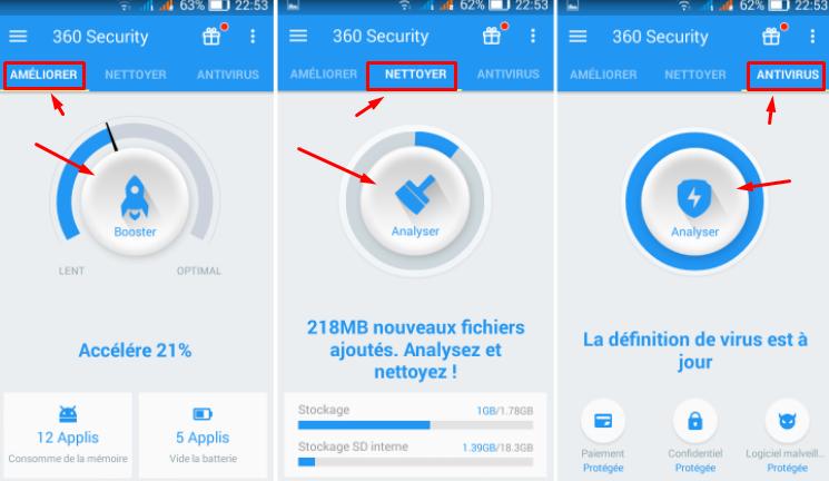 تطبيق لحماية الهاتف وتسريعه ووضع كلمة سرية لأي تطبيق 360 security Screen45
