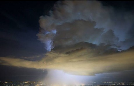 """BIZAARE """"PORTAL-SHAPED CLOUDS"""" FORM OVER CERN DURING THE """"AWAKE EXPERIMENT"""" Cern-c13"""