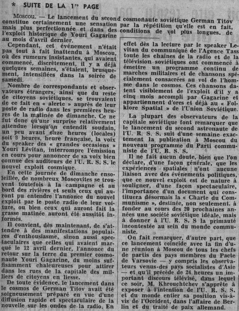6 août 1961 - Vostok 2 - Guerman Titov 61080820
