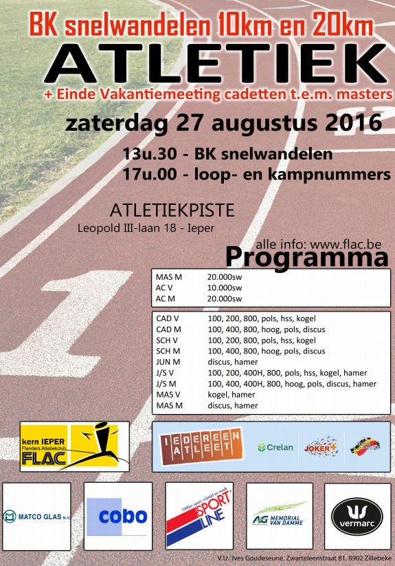 Championnat de Belgique 10km, 20km; Ypres; 27/08/2016 Bk_20111