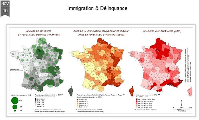 Cartographie : immigration et délinquance.  Cartes10