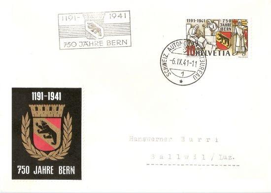 SBK 253  (Mi 398) 750 Jahre Bern 07_fdc10
