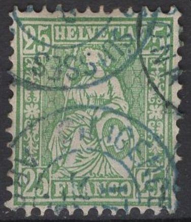 SBK 40 (Mi 32) 25 Rp grün, weisses Papier 1868 - Schweizer Post in Italien Arona Arona110