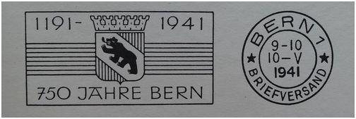 Werbeflaggenstempel 750 Jahre Bern Ersttt10