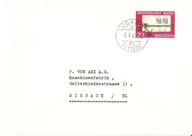 SBK 352 (Mi 693) Gründungsurkunde und Zepter (500 Jahre Universität Basel 1460 - 1960) Ert10