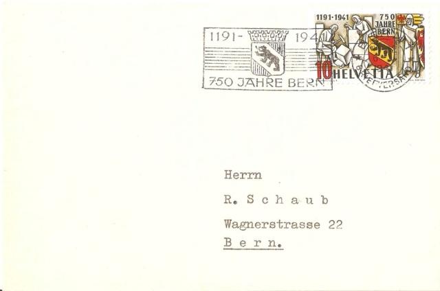Werbeflaggenstempel 750 Jahre Bern Fdc_or10