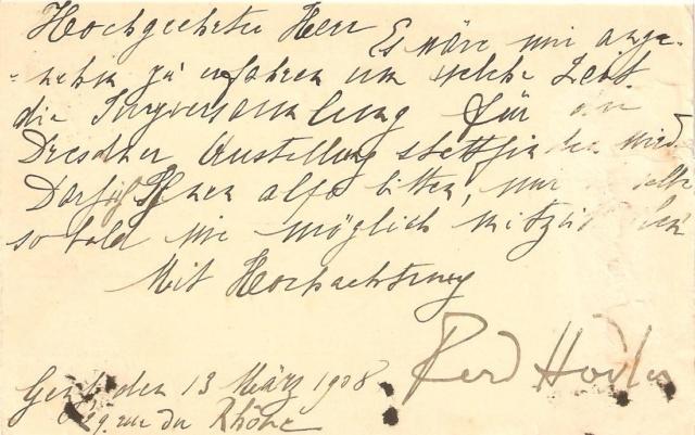 Autographen / Unterschriften bekannter Personen Hodler10