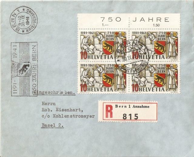 Werbeflaggenstempel 750 Jahre Bern Letztt10