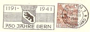 Werbeflaggenstempel 750 Jahre Bern Verset10