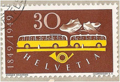 SBK 293 (Mi 521) Postautomobil / 100 Jahre Eidgenössische Post Wed_ma11