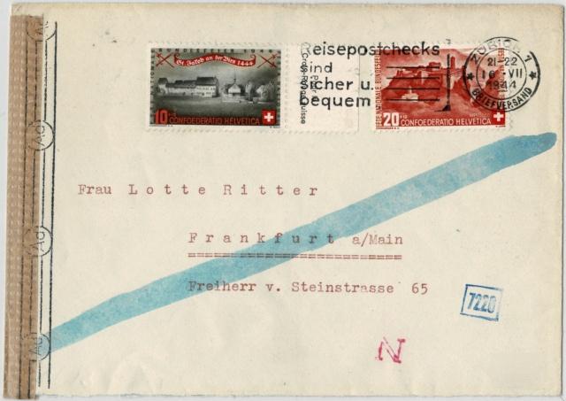 Chemische Zensur auf Belegen aus der Schweiz Zensur10