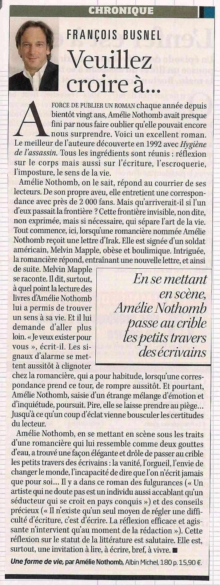 Amélie Nothomb l'épistolière -L'express.fr Lex610
