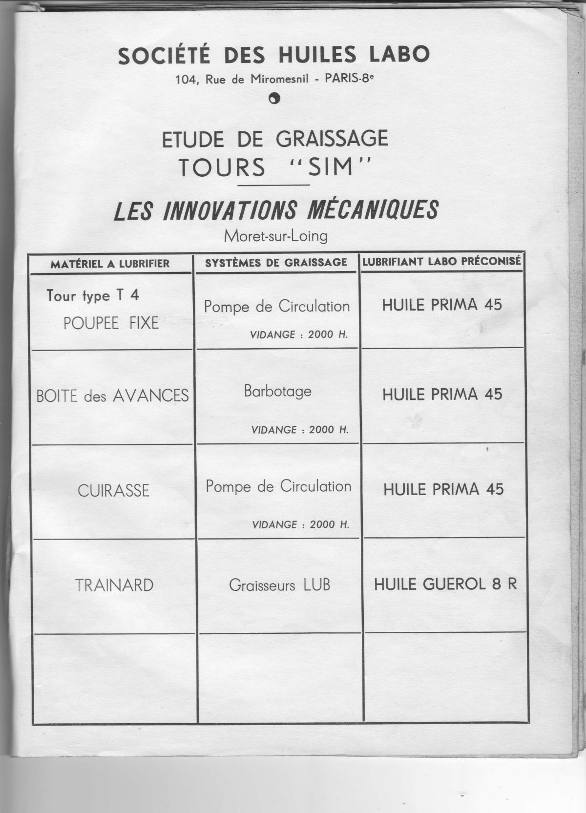 SIM (Société les Innovations Mécaniques) T4, T5, T6, T8 (+ T 9) Uw1110