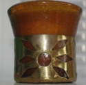 8oz Hi-ball Amber Glass w/brass ornament Imgp6017