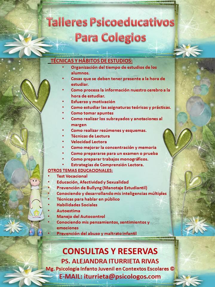 TALLERES PSICOEDUCATIVOS PARA COLEGIOS Taller10