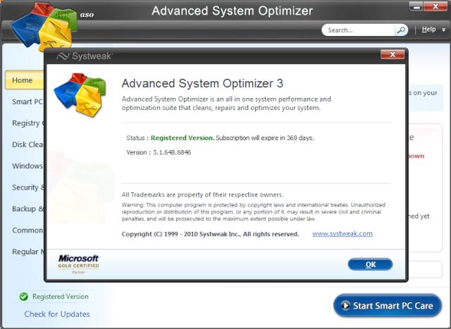 Advanced System:Optimisez, réparez et personnalisez vtr PC 0015ea10