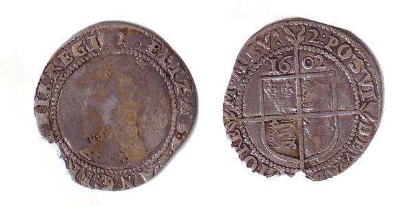 6 pence d'Elisabeth Tudor reine d'Angleterre Serie-11