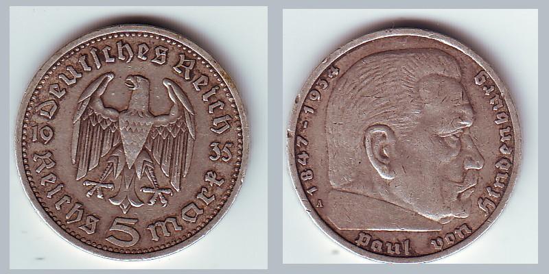 pièce allemande de 5 Reichsmark argent de 1935 Serie-17